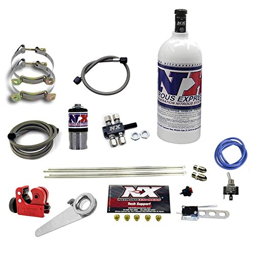 Motorcycle Nitrous Kit - Nitrous Express 62000-1.0P Motorcycle 4 Cyl. Dry System  Incl. All Necessary Components All Necessary Hardware w/1 lb. Bottle Jetting For 15-200 hp. Motorcycle 4 Cyl. Dry System