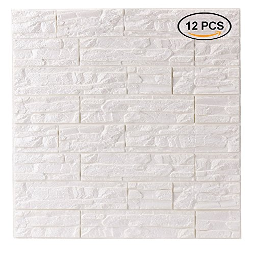 Doremy 3D Brick Pattern Wall Panels Stickers PE Foam Self-Adhesive Wallpaper DIY Waterproof Modern Style for Living Room Bedroom Kitchen Background Wall Decoration (12PCS, White)