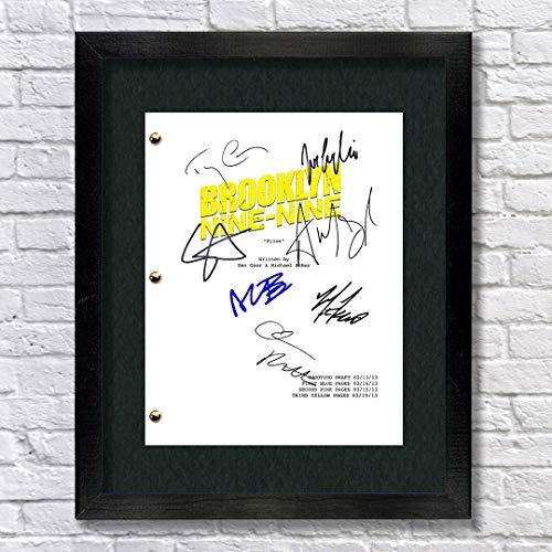 Brooklyn Nine Nine TV Cast Autographed Signed Reprint 8.5x11 Script Framed 13x15 Any Samberg, Jake Peralta, Stephanie Beatriz, Rosa Diaz, Terry Crews Terry Jeffords, Melissa Fumero, Amy -