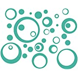 Wall Decor Plus More WDPM197 Wall Vinyl Sticker Decal Circles and  Rings, Turquoise, 25-Piece