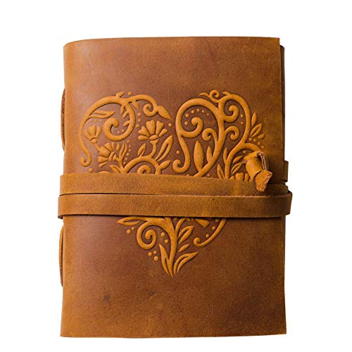 Leather Journal for Women - 240 Pages Kraft Lined Paper Beautiful Embossed Heart Cover Handmade Leather Bound Journal Notebook - 8 x 6 Inches Art Sketchbook, Travel Diary & Journals to Write in