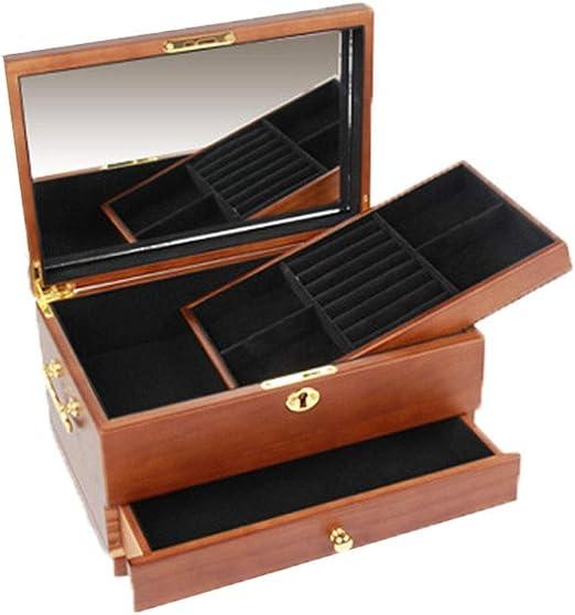 Joyeros mujer organizador Caja de madera de múltiples capas de ...