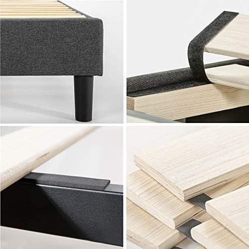 ZINUS Curtis Upholstered Platform Bed Frame / Mattress Foundation / Wood Slat Support / No Box Spring Needed / Easy Assembly, Grey, Full 51obVeuB2HL