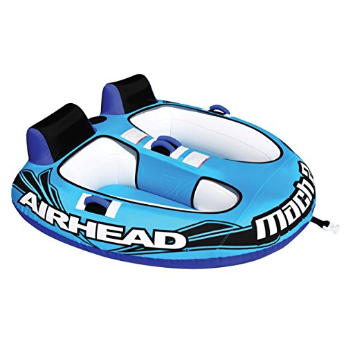 Airhead AHM2-2 Mach 2 Inflatable 2 Rider Water Towable Tube with 50-60' Tow Rope 60 Foot 2 Rider Tube
