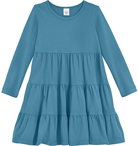 City Threads Little Girls' Cotton Long Sleeve Tiered Ruffle Dress, Teal, (Party City Ct)