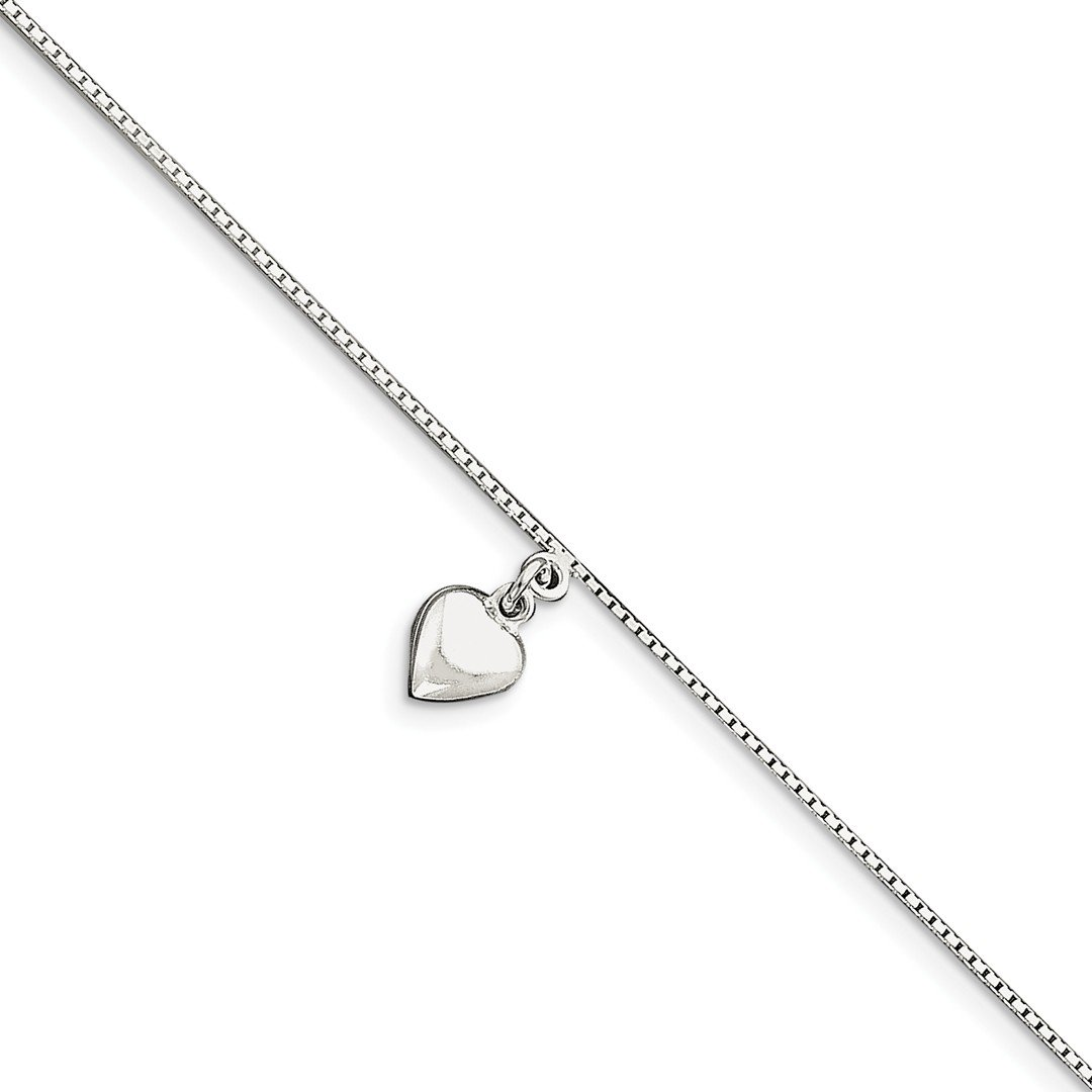 925 Sterling Silver 10 Inch 3 Dimensional Heart Anklet Ankle Beach Chain Bracelet Fine Jewelry For Women Gift Set ICE CARATS IceCarats 154612007848034676