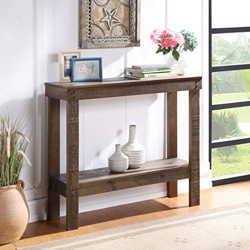 Knocbel Rustic Wood Console Table for Entryway Hallway, Living Room Sofa Side Table with Bottom Open Shelf, 39.8 L x 12.6 W x 36 H Brown