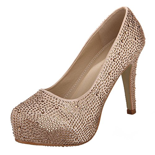 VELCANS Colourful Rhinestone Womens Platform Pumps,Bridal Shoes,Party Shoes and Wedding Shoes (11 B(M) US, Champagne)