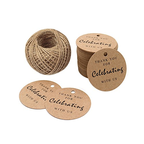 Paper Gift Tags,Thank You For Celebrating With Us,Kraft Thank You Tags 100 Pcs 5.5cm For Wedding Party Favors,Baby Shower Tags,Gifts with 100 Feet Natural Jute Twine (Tags Gift Graduation)