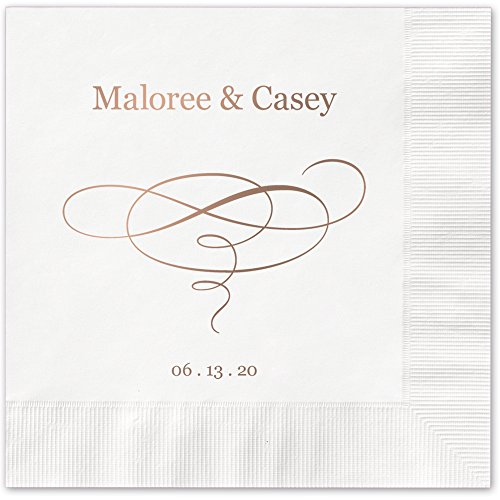 Elegant Swirl Personalized Luncheon Dinner Napkins - Canopy Street - 100 Custom Printed White Paper Napkins (4021L)