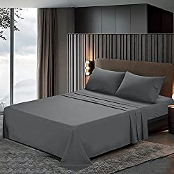 Htovila 110 GSM Bed Sheet Set - Brushed Microfiber 2100 Bedding - Wrinkle, Fade, Stain Resistant - Hypoallergenic - 4 Piece(Grey, King)