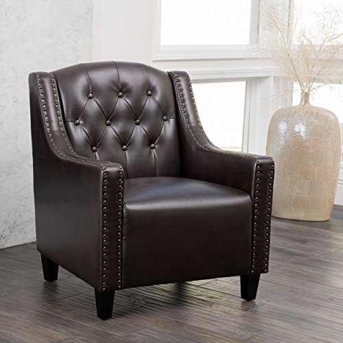 (Christopher Knight Home 229678 Gabriel Tufted Leather Club Chair, Brown)