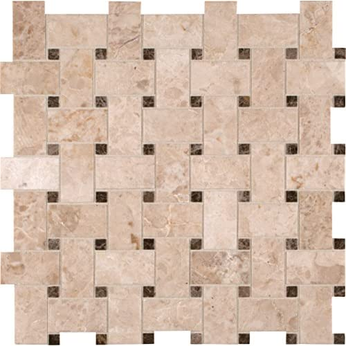 durable modeling Arion SMOT-CRECAP-BWP Crema Cappuccino Basketweave 12-Inch x 12-Inch x 10mm Polished Marble Mosaic Tile, Beige