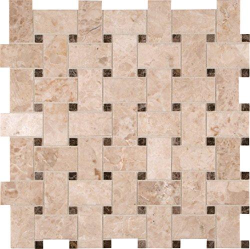 MS International SMOT-CRECAP-BWP Crema Cappuccino Basketweave 12-Inch x 12-Inch x 10mm Polished Marble Mosaic Tile