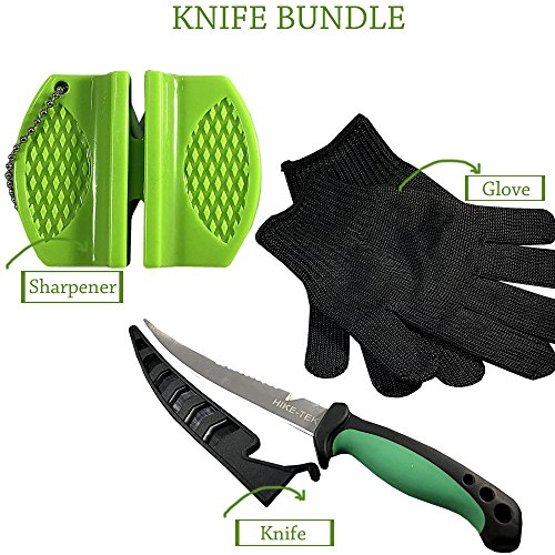 HIKE-TEK Premium 6.5 Inch Fillet Knife with Sharpener and Anti-Cut Gloves Included. Portable Stainless Steel Blade- Best Gift Idea