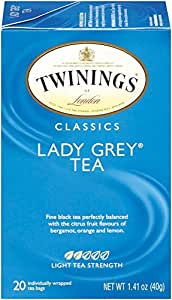 Twinings Black Tea, Lady Grey, 20 Count Bagged Tea (6 Pack)