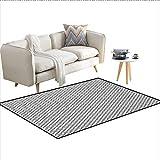 Carpet,Monochrome Retro Design Inspired Stripes and Geometric...