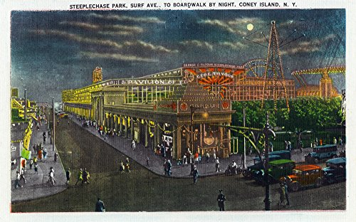 (Coney Island, New York - Steeplechase Park Surf Ave to Broadway at Night (24x36 SIGNED Print Master Giclee Print w/Certificate of Authenticity - Wall Decor Travel Poster))