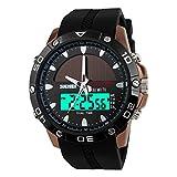 ETbotu Boy Outdoor Solar Sports Waterproof GMT Alarm Calendar Chronograph EL Backlight Digital Wristwatch