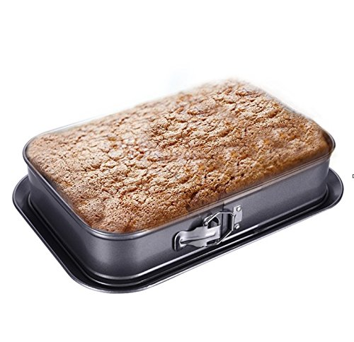 """Non-stick Cheesecake Pan, Springform Pan, Rectangle Cake Pan with Removable Bottom Leakproof & Quick Release Latch Bakeware 14""""9.3""""3"""" Black BY ERYA by Eyra (Image #7)"""