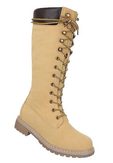 cb64f1c5d4269 Damen Stiefel Schuhe Schnürer Boots Schwarz Braun Camel 36 37 38 39 ...