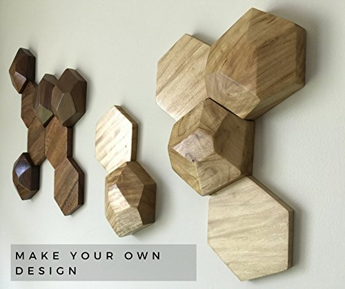 HANDMADE WOODEN HEXAGON PIECES for Decoration. Adds a unique touch of modern decoration to any environment in your home. Use your imagination in creating your own 3D wall art! Made with real wood.