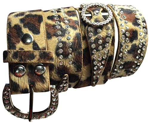 Woodworkers and Weavers Silver Stud and Animal Print Belt (38 inches)