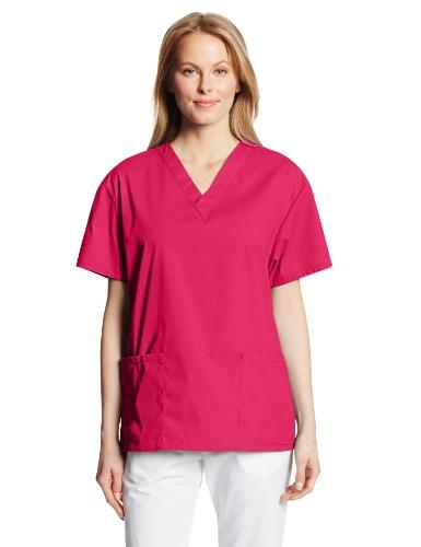 Dickies Women's Eds Signature Scrubs Missy Fit V-Neck Top, Hot Pink, Medium