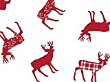 Christmas Print Cello Rolls - 30''x100' Deer Red Plaid Cello Roll 1.0 mil (3 Rolls) - WRAPS-CR30DRP