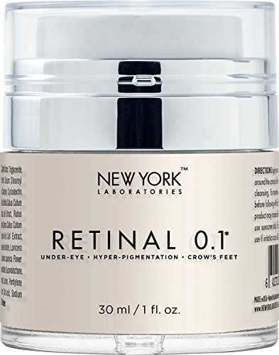 New York Laboratories Eye Cream with Retinal 0.1, Maximum Strength Anti Aging Eye Cream, Reduces the Appearances of Wrinkles, Fine Lines, Hyperpigmentation & Crows Feet, 1 (0.1% Cream)