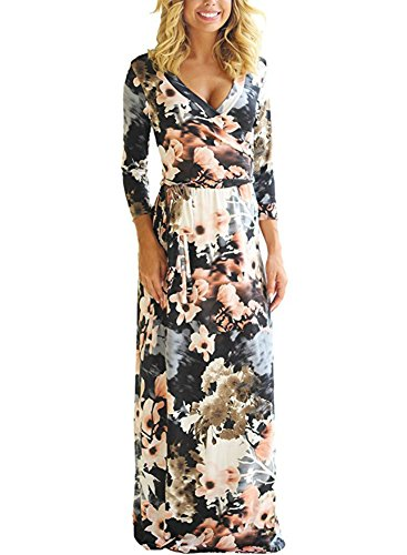 NuoReel Women's sexy V Neck long Sleeves Graffiti Floral Printed Prom Party Tunic Maxi Long Dress with Belt (Medium, Black)