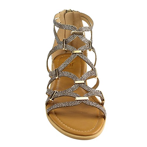 Betani Fh61 Dames Glitter Gladiator Gekooide Metalen Decor Platte Sandalen Lt. Goud