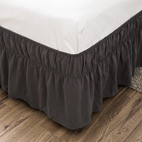Bed Skirt-14 Inch Drop Elegant Wrap Around Ruffled (Queen,Dark Gray) Brushed Microfiber 1800 Adjustable Elastic Easy Fit
