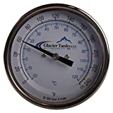 Thermometer | Rear Mount 0-250 Degree x 9 inch - Stainless Steel SS304 - Glacier Tanks