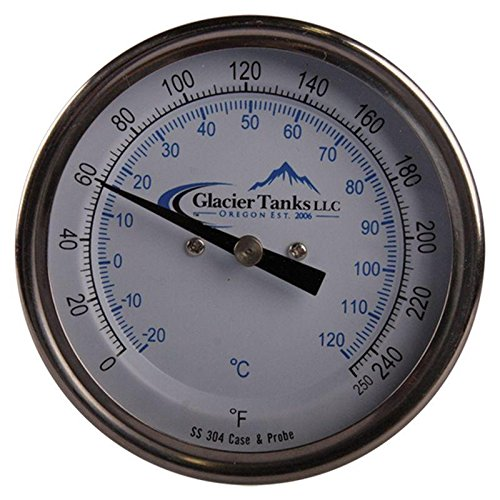 Stainless Steel Jacketed Tank - Thermometer | Rear Mount 0-250 Degree x 9 inch - Stainless Steel SS304 - Glacier Tanks