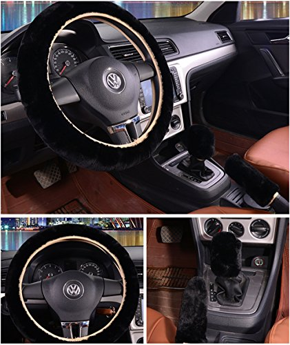 Winter Wheel Packages (3 Pcs 1 Set Winter Warm Steering Wheel Cover with Handrake Cover & Gear Shift Cover for 14.96