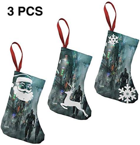 クリスマスの日の靴下 (ソックス3個)クリスマスデコレーションソックス これからの東京戦争 クリスマス、ハロウィン 家庭用、ショッピングモール用、お祝いの雰囲気を加える 人気を高める、販売、プロモーション、年次式