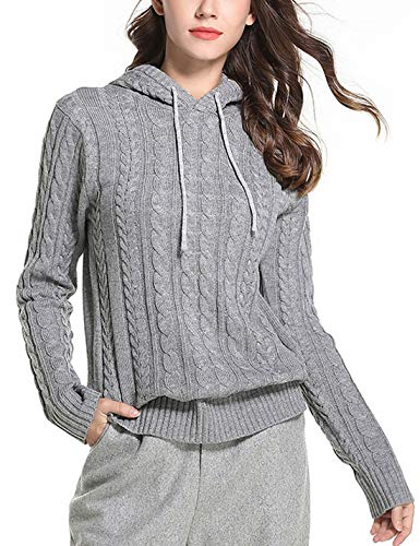 Omoone Women's Cable Knit Pullover Hoodie Short Casual Sweater Sweatshirt (Grey, XL)