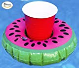 Inflatable Watermelon Drink Float   Floating Cup Holder Floatie   Pool Coaster   Tropical Decorations by Captain Floaty (3-Pack)