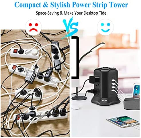 BEVA POWER STRIP TOWER SURGE PROTECTOR FLAT PLUG DESKTOP CHARGING STATION WITH 9 AC OUTLETS 4 USB PORTS SWITCH CONTROL, 900 JOULES, 6 FT EXTENSION CORD FOR OFFICE AND HOME, DORM ROOM BLACK