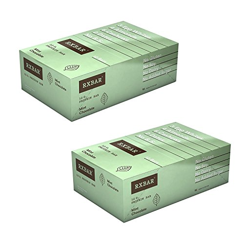 RXBAR Real Food Protein Bar, Mint Chocolate, Gluten Free, 1.83oz Bars, 24 Count