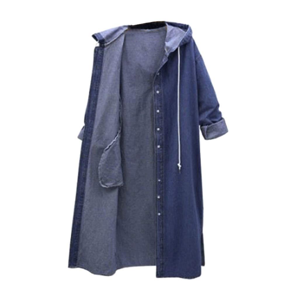Oversized Denim Jacket for Women Long Sleeve Classic Loose Jean Trucker Jacket by Dunacifa Women Outwear