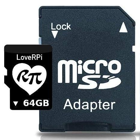 loverpi Raspbian 64 GB, UHS-I Tarjeta microSD con Adaptador ...