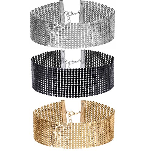 Tpocean 3Pieces Sliver Black and Gold Thick Choker Necklaces Set for Women Ladies Girls
