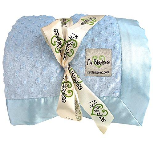 My Blankee Minky Dot Twin Blanket with Flat Satin Border,...
