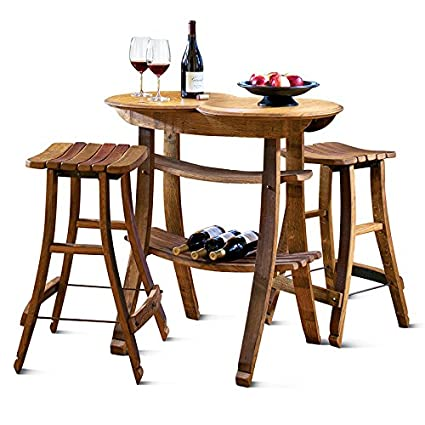 Magnificent Amazon Com Wine Barrel Stave Table And 2 Stools Wbtt10 Download Free Architecture Designs Scobabritishbridgeorg