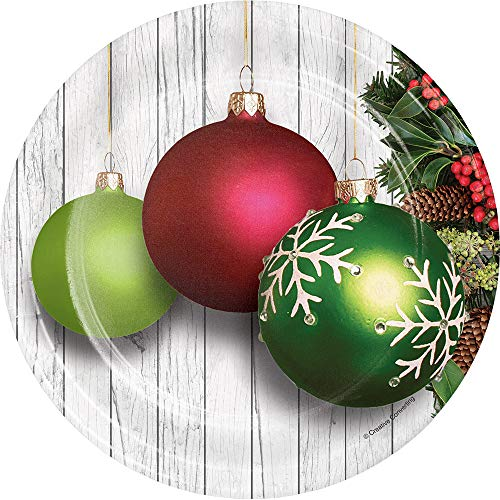 Creative Converting 332041case Christmas Ornaments Dessert Plates, One Size, Multicolor