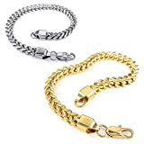 Konov Jewelry Stainless Steel Mens Bracelet, 2pcs Classic Box Chain, Gold Silver, with Gift Bag, C25288