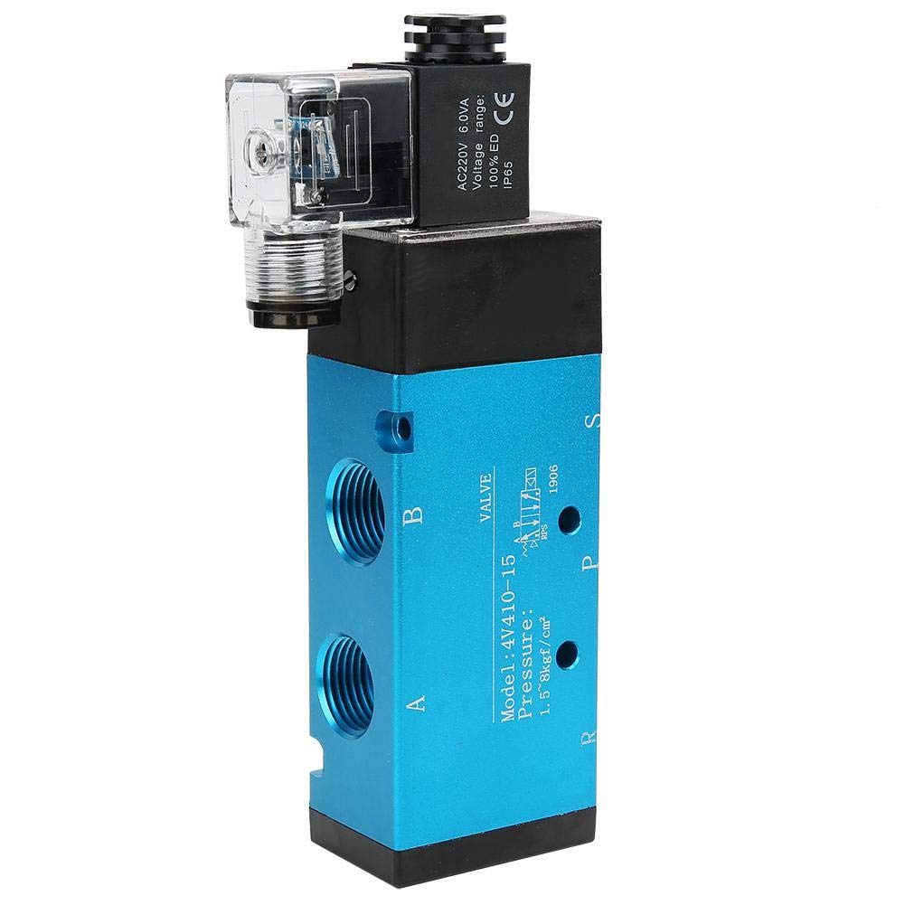 AC220V Electric Solenoid Valve 4V410-15 2 Position 5 Way Air Solenoid Valve 50mm/² 0.18~0.8MPa IP65 Electric Solenoid Valve