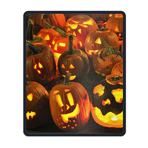 Natural Rubber Mouse Pad Printed with Holiday Halloween Jack-o-Lantern Light Candle 8.66 x 7.08 inch]()